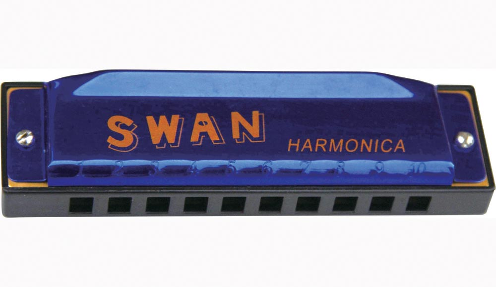 Swan 10 hole 20 tone blues harmonica - blue