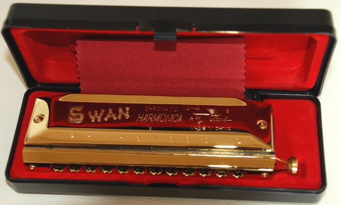 Swan 12 hole 48 tone Chromatic Harmonica, golden plated.