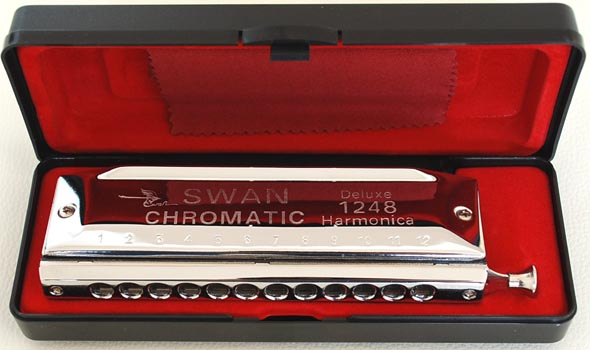 Swan Chromatic Harmonica 12 hole 48 tone, Thick Reed Plate
