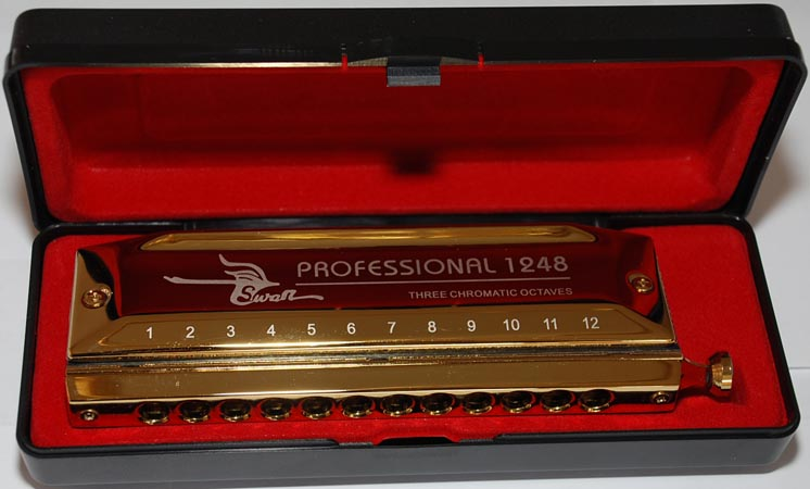 Swan 12/48 Chromatic Harmonica, golden plated, laser printing