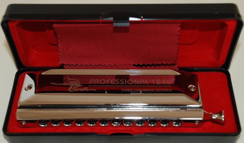 Swan Chromatic Harmonica 12 hole 48 tone, Silver, laser printing