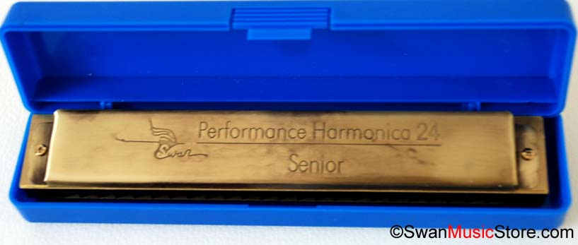 Swan 24 hole, brass reed, bronze-colored harmonica - Click Image to Close