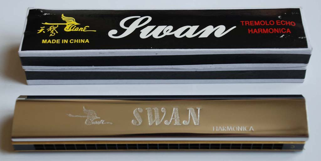 Swan 24 Hole Tremolo Echo Octave Tuned Harmonica - Key of C