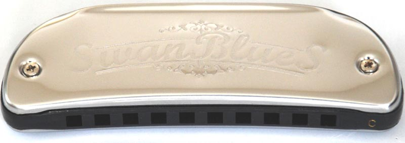 Swan 10 hole 20 tone blues harmonica - boat shaped