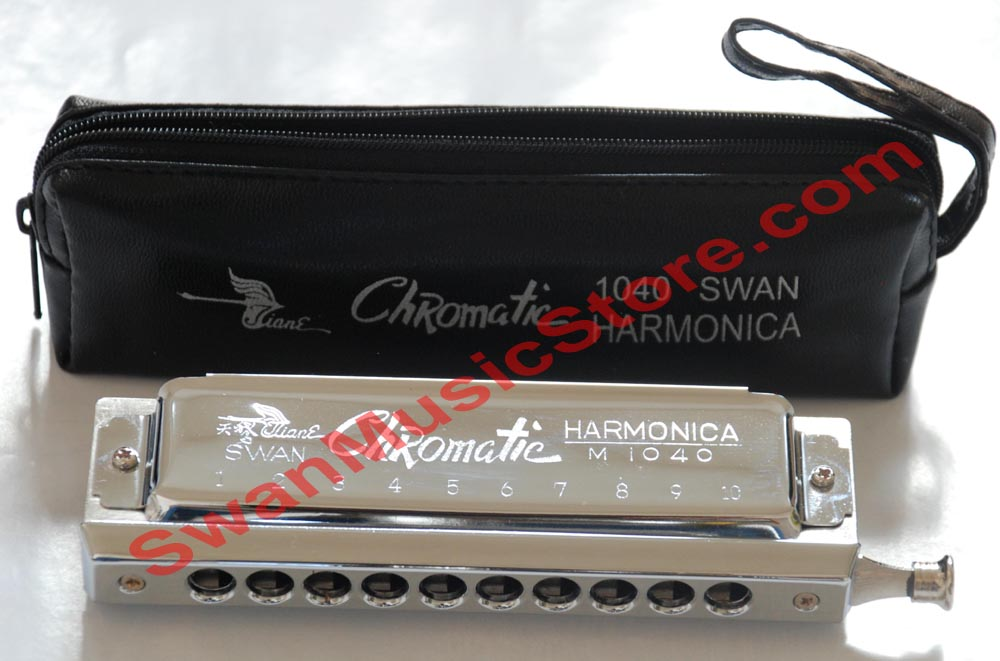 Swan 10/40 Chromatic Harmonica (zipped soft bag) - Click Image to Close