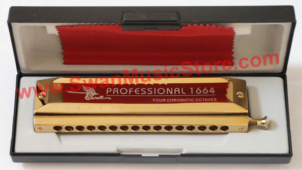 Swan 16 hole 64 tone Chromatic Harmonica, Golden,Laser Print